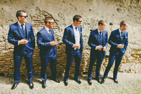 stylish groom and groomsmen's navy suits