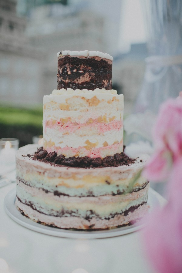 pink and brown naked cake