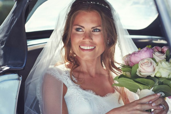 stunning bridal portrait in the car