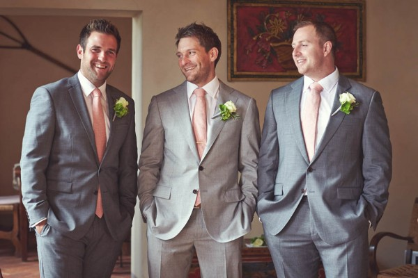 groom and groomsmen's pink ties