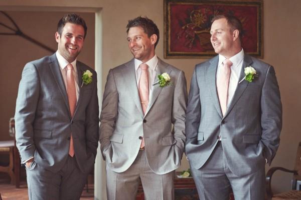groom and groomsmen's pink ties
