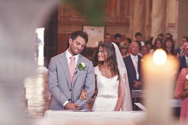 romantic Italian destination wedding church ceremony