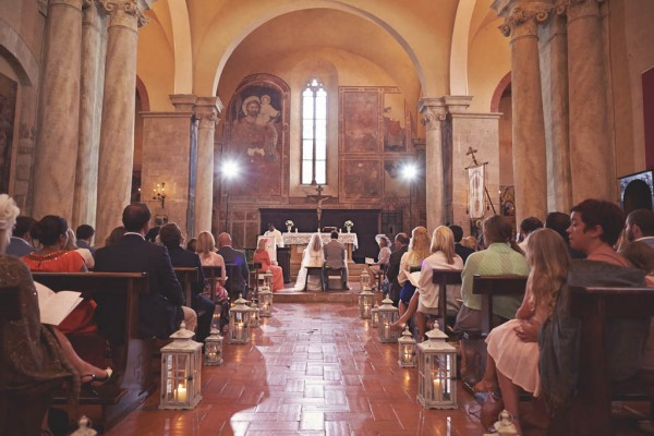 beautiful Italian destination wedding church ceremony