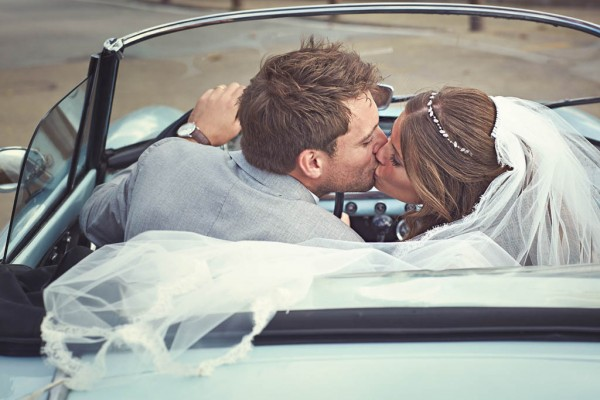 couple's portrait in convertible