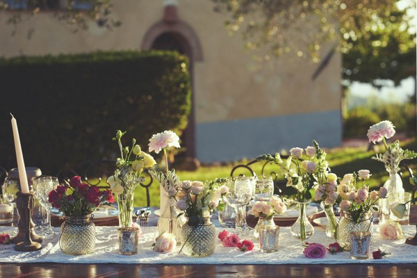 rustic and romantic floral reception table decor