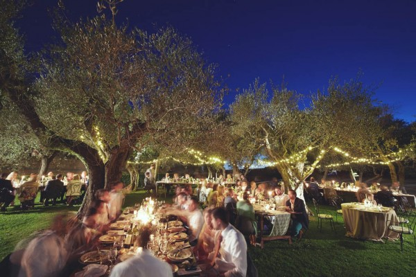 romantic reception space with lights in the trees