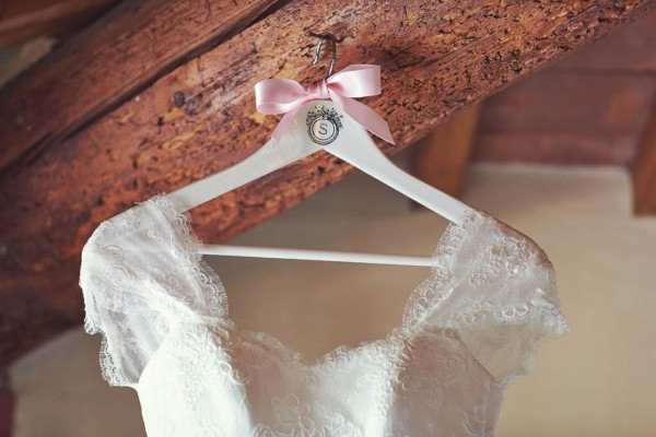 bride's dress with initial hanger