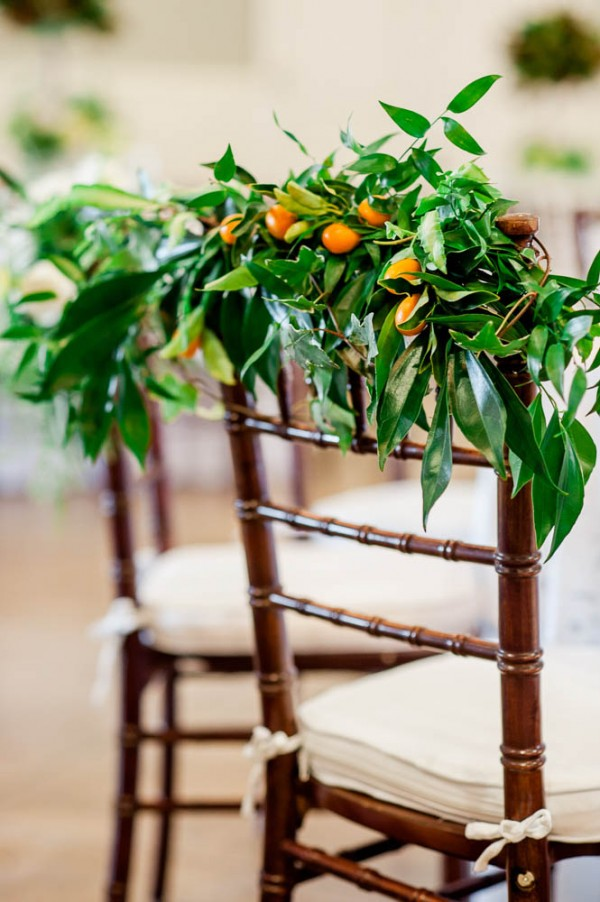 orange fruit wedding decor