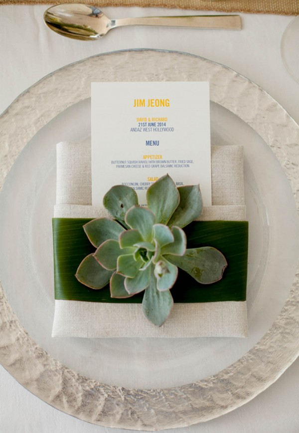modern succulent table setting