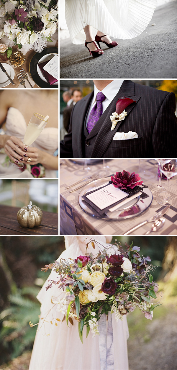 Burgundy And Gold Wedding Color Palette