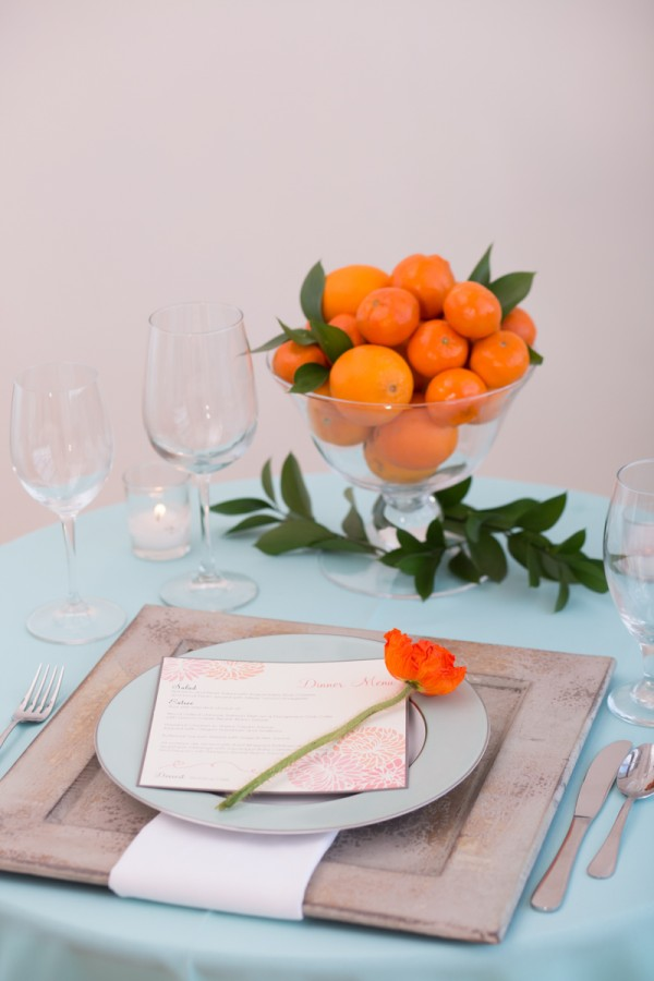 orange and blue tablescape ideas
