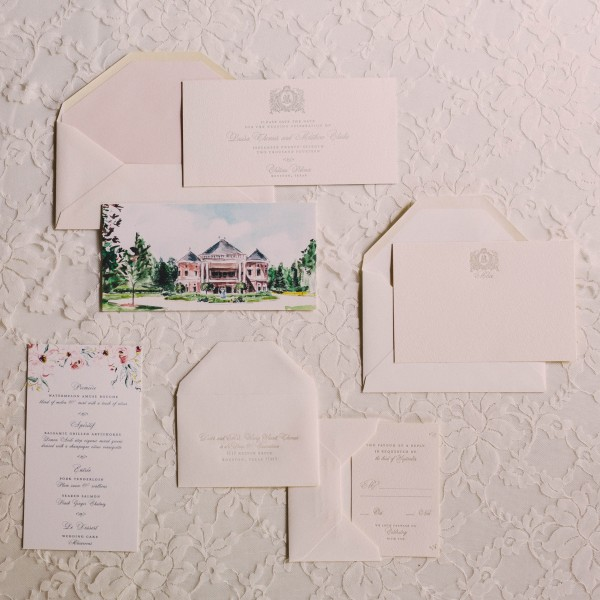 French inspired wedding invitations