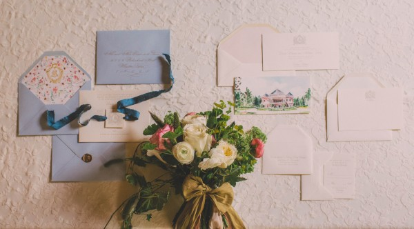blue and cream wedding invitations