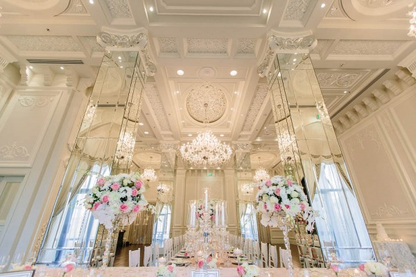 pink and crystal wedding decor