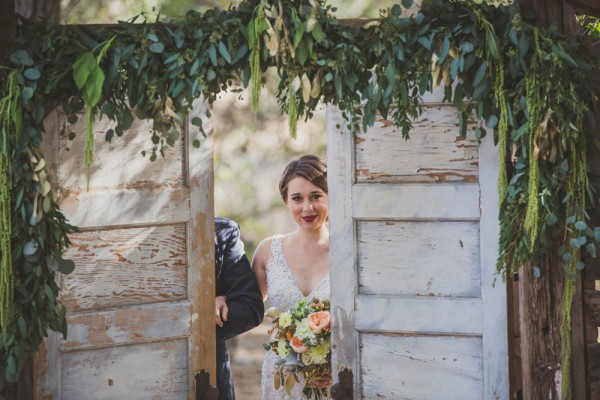 wedding ceremony with rustic doorway