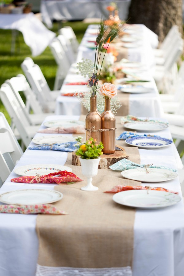 colorful vintage fabric wedding decor