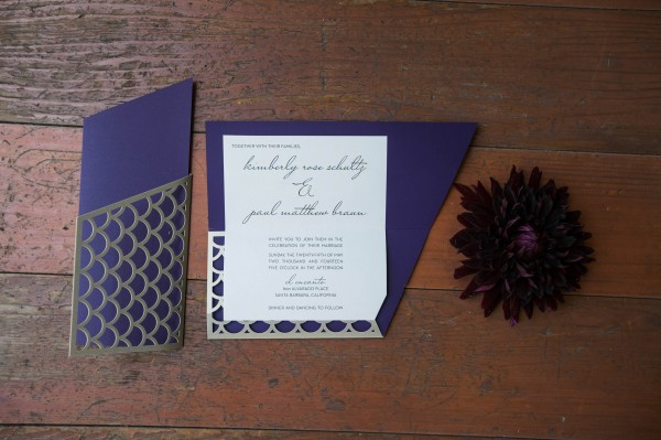 fish scale motif wedding invitations