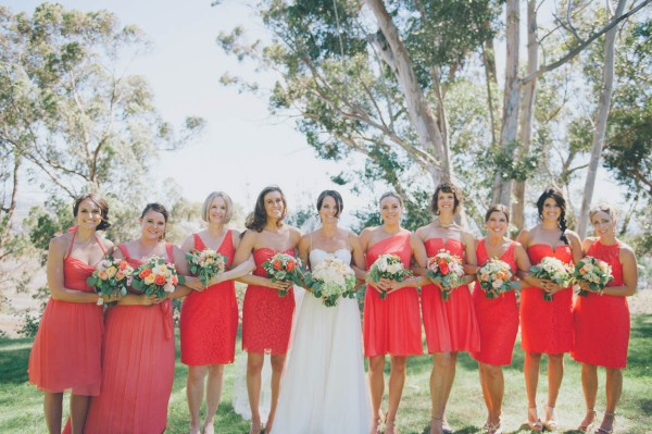 assorted coral bridesmaids dresses