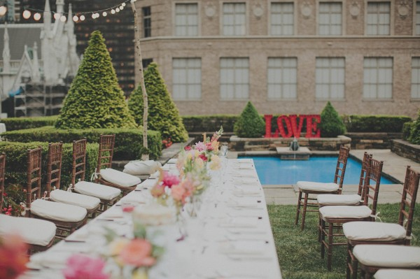 modern wedding with LOVE marquee