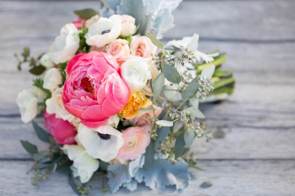 bouquet with peonies and anemonies