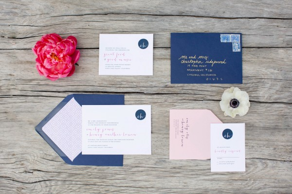 elegant preppy wedding invitations