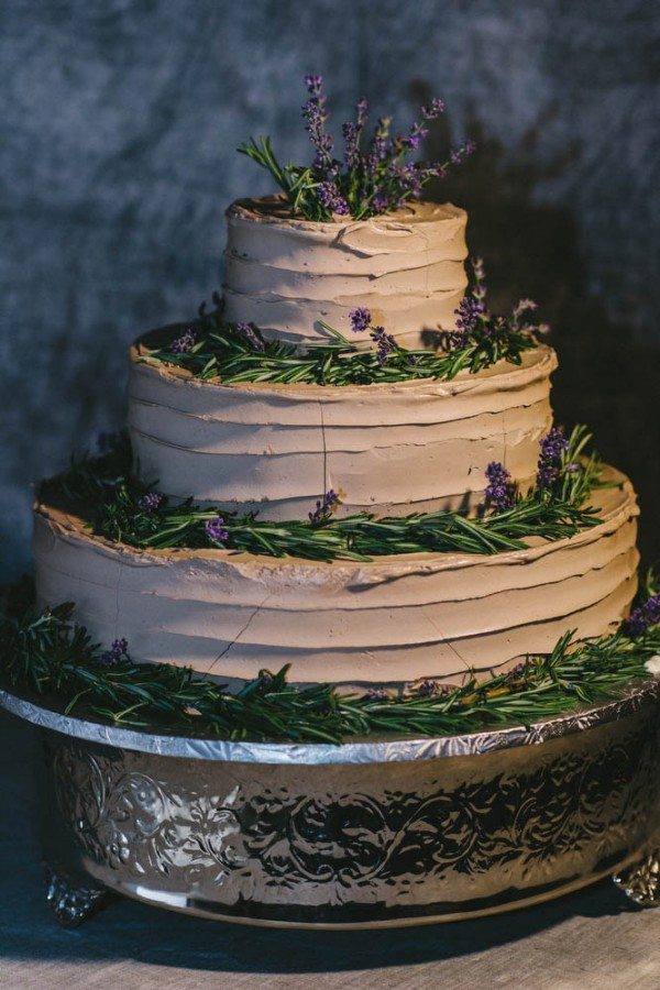 chocolate cake with lavender and sage