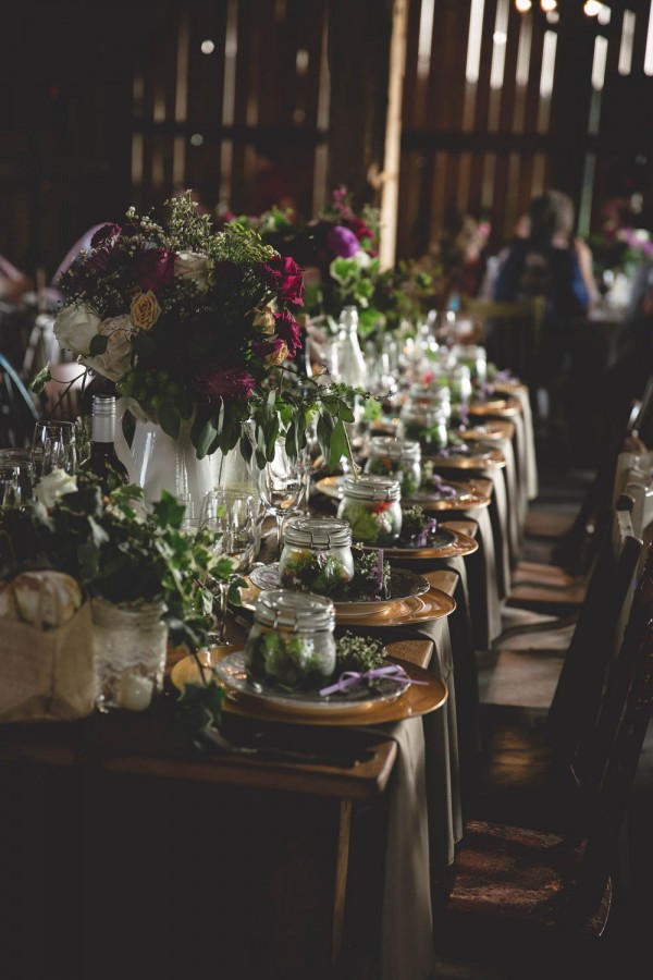 purple and gold rustic wedding decor