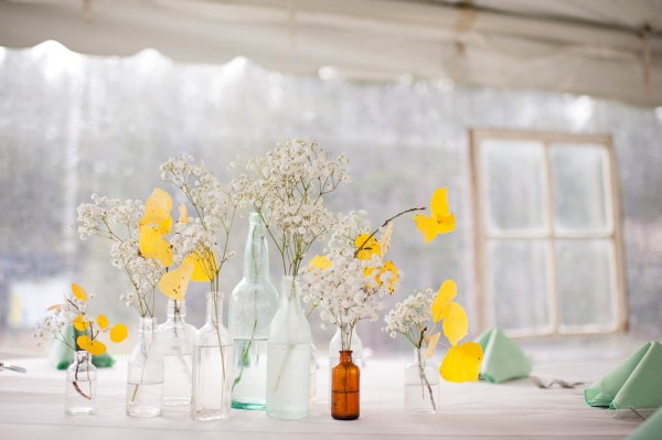 yellow and aqua wedding decor