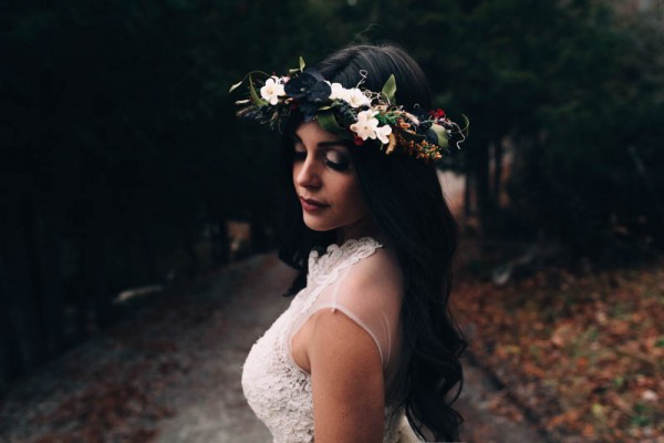 winter wedding flower crown
