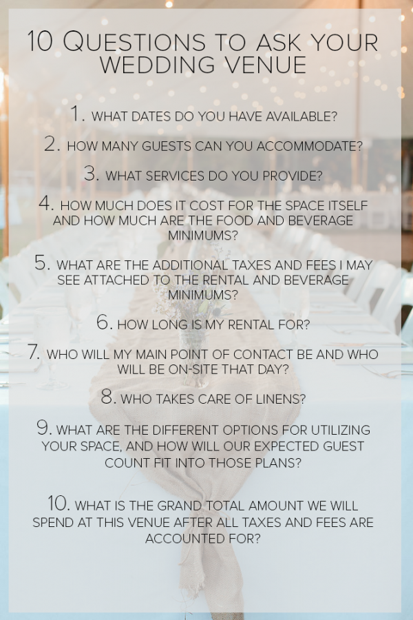What to know before touring wedding venues a free for What is a wedding venue
