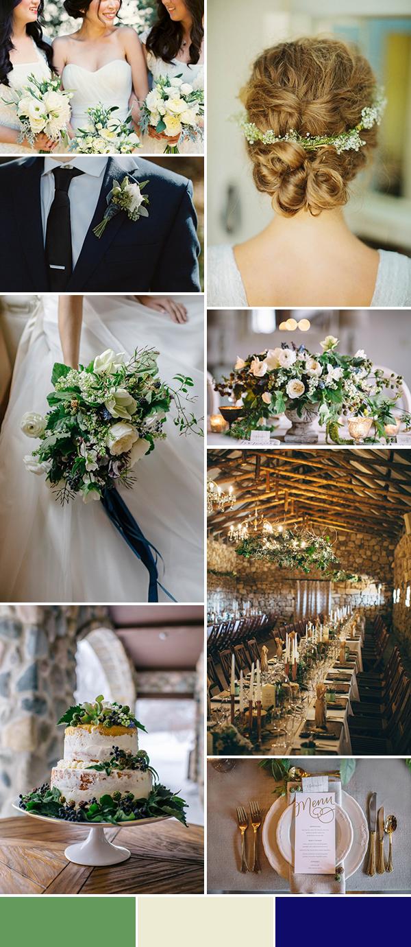 Sage Ivory Navy Wedding Color Palette