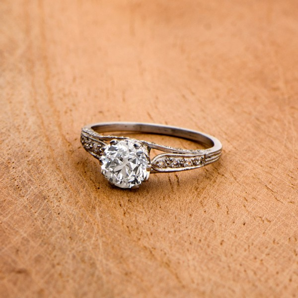 11024 Vintage Old Euro Engagement Ring Artistic View