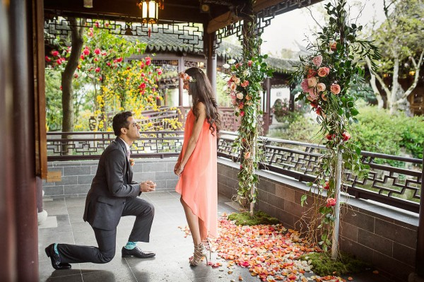 Surprise Proposal At Lan Su Chinese Garden Junebug Weddings