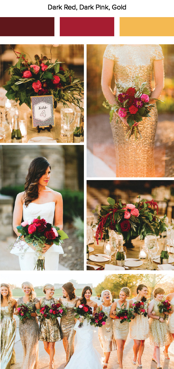 7 fall wedding color palette ideas junebug weddings photos by giving tree photography view the full wedding here loving those sparkly gold gowns youll love this decode 18 sequined a line dress for your junglespirit