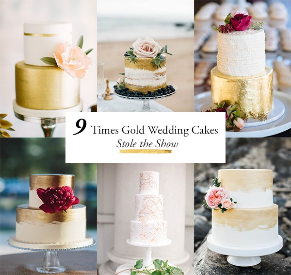9 Times Gold Wedding Cakes Stole The Show Junebug Weddings - Gold Wedding Cakes