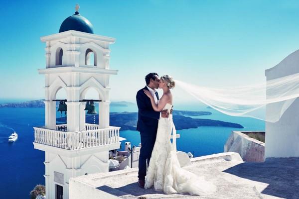 Elegant Santorini Wedding at Theros Wave Bar   Junebug ...