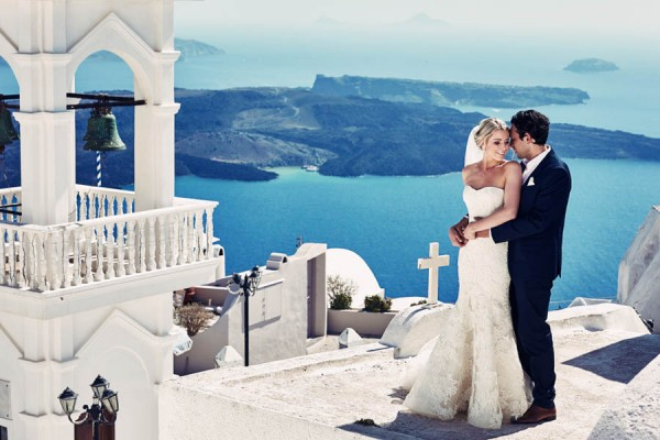 Elegant Santorini Wedding At Theros Wave Bar Junebug