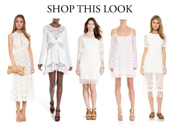mismatched white crochet bridesmaids dresses