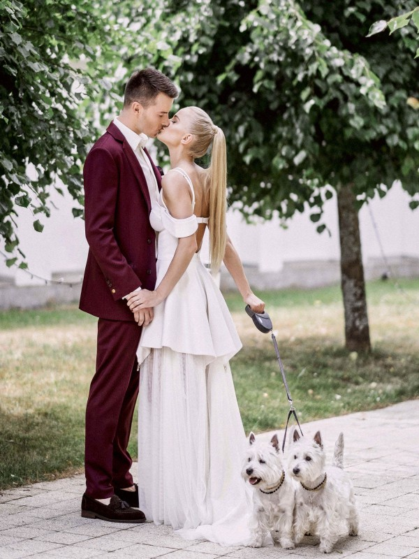 After Dressing For The Big Day Together And Taking Their Dogs A Walk Simona Adas Married In White Marsala Wedding Lithuania