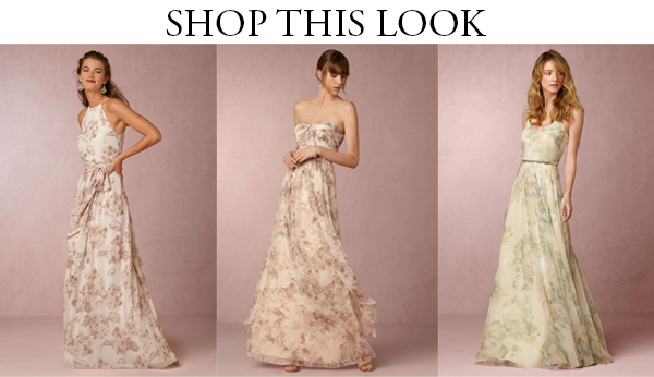BHLDN floral bridesmaid gowns