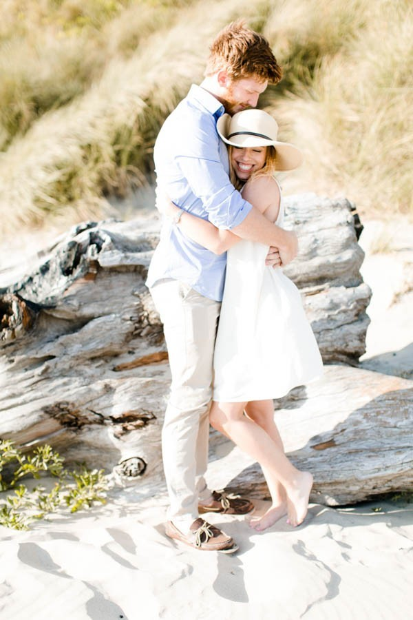 The Ultimate Summer Engagement Outfit Floppy Hat Little White Dress And Sandy Bare Feet