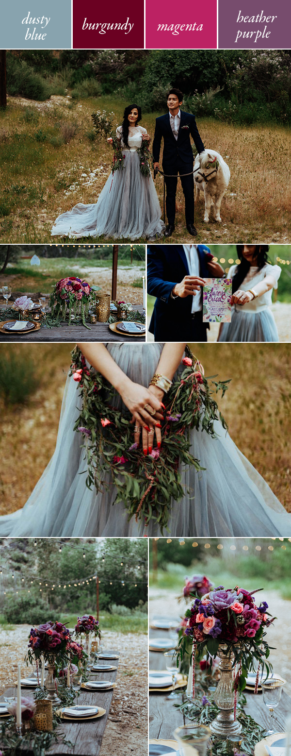 dusty blue red and purple wedding color palette