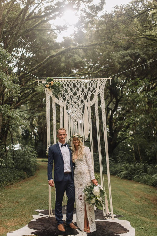 New zealand wedding wedding blog posts archives junebug weddings when we saw this weddings macram ceremony backdrop super chic florals and crochet inspired bridal gown we knew we were dealing with the ultimate junglespirit Gallery