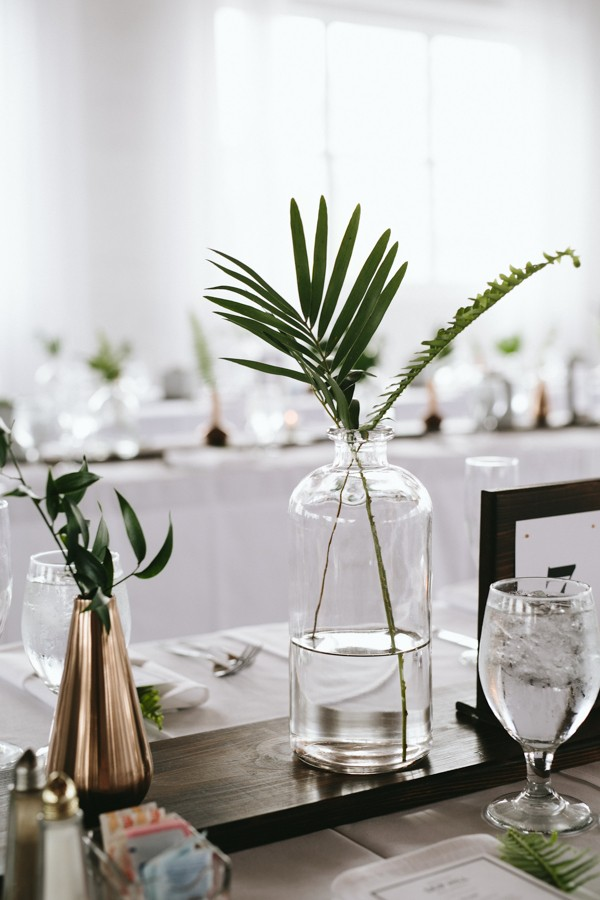 This reading art works wedding takes modern minimalism to for Modern table centerpieces