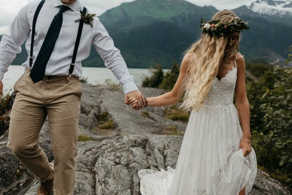 Magical Mendenhall Glacier Wedding with Waterfalls and Wildflowers Joel Allegretto-35