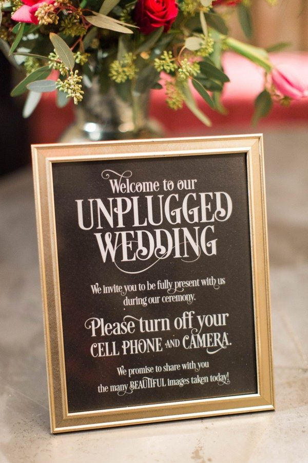 framed unplugged ceremony sign in black and gold