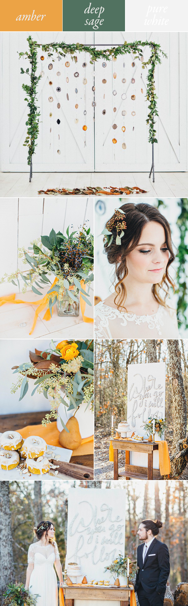 amber sage green white fall wedding color palette