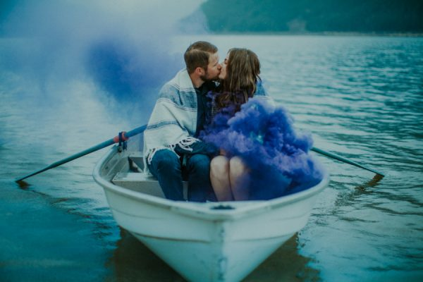Smoke Bombs and a Boat for Two Made This Jones Lake Engagement