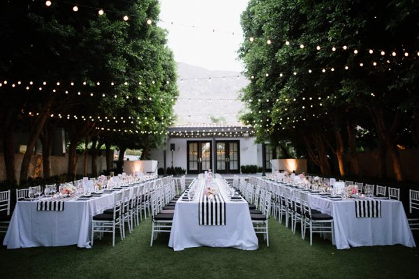 Whimsical Black White Palm Springs Wedding Avalon Hotel