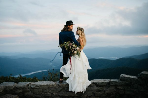 Organic Mountaintop Elopement Inspiration In The Blue